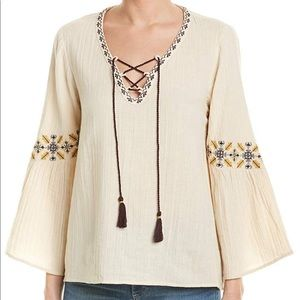 Lilla P • Bohemian Lace-Front Embroidered Top